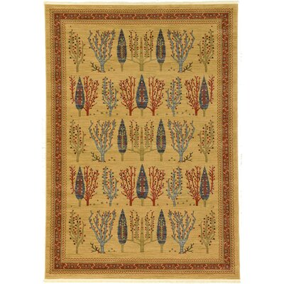 Jan Mustard/Orange Area Rug Rug Size: 7 x 10
