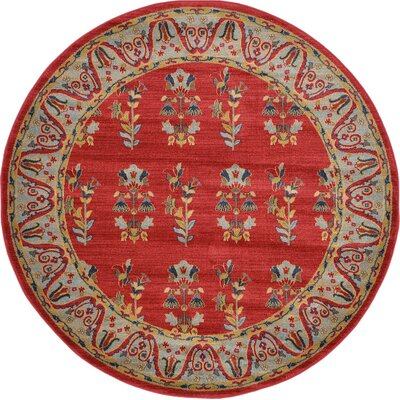 Foret Noire Red Area Rug Rug Size: Round 6