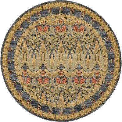 Fonciere Brown/Blue Area Rug Rug Size: Round 8
