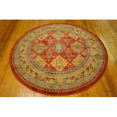 Valley Red Area Rug Rug Size: Round 6