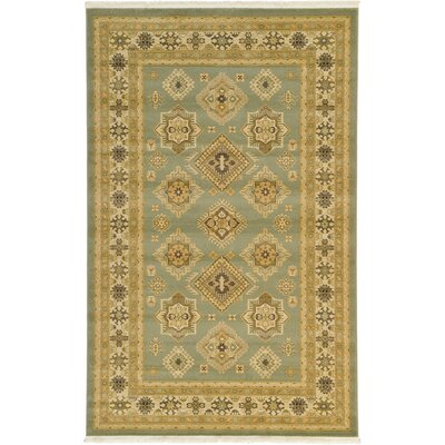 Jana Light Green Area Rug Rug Size: Round 6
