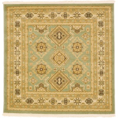 Jana Light Green Area Rug Rug Size: Square 4