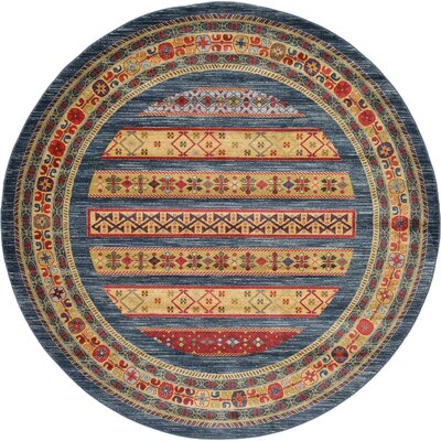 Foret Noire Blue Area Rug Rug Size: Round 8