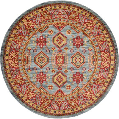 Valley Bright Red Area Rug Rug Size: Round 8