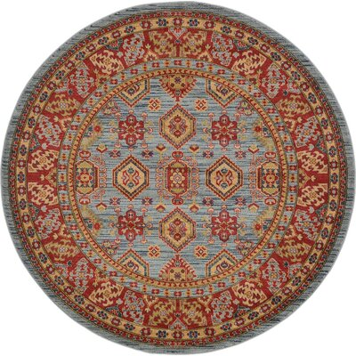 Valley Bright Red Area Rug Rug Size: Round 6