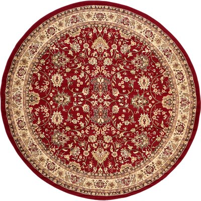Essehoul Red Area Rug Rug Size: Round 8
