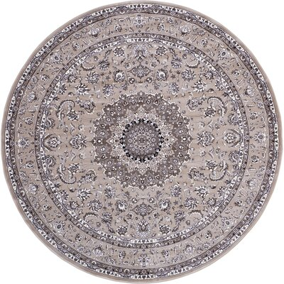 Essehoul Taupe Area Rug Rug Size: Round 8