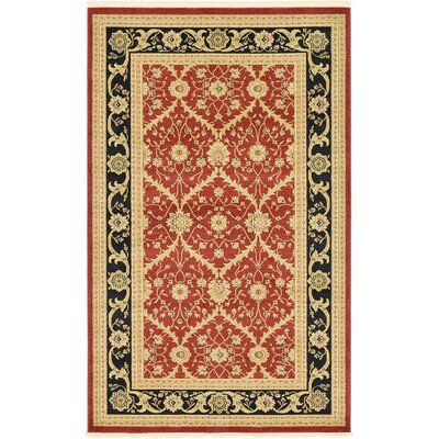 Fonciere Red Area Rug Rug Size: Rectangle 5 x 8