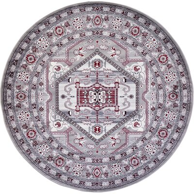 Valley Light Gray Area Rug Rug Size: Round 8
