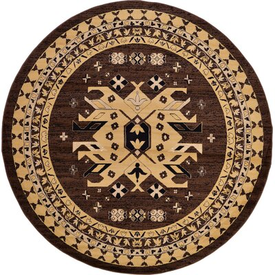 Valley Brown Area Rug Rug Size: Round 8