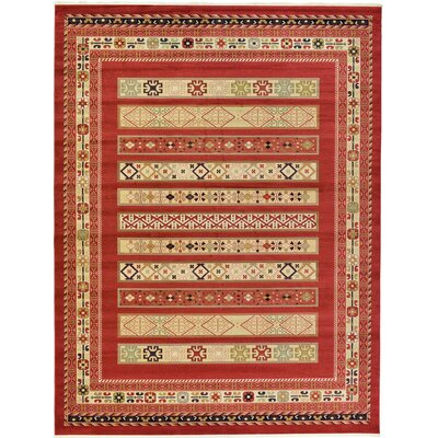 Foret Noire Rust Red Area Rug Rug Size: 13 x 18