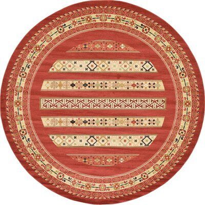 Foret Noire Rust Red Area Rug Rug Size: Round 122