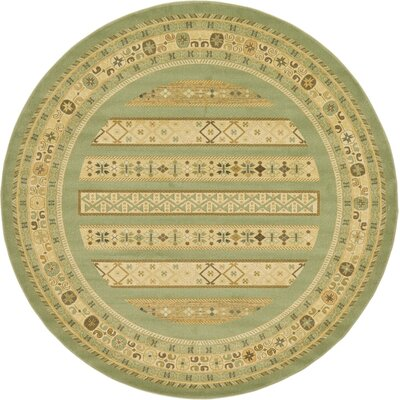 Foret Noire Light Green Area Rug Rug Size: Round 6