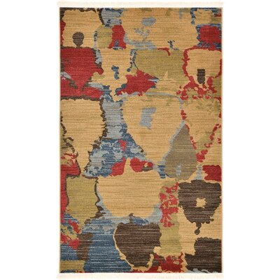 Foret Noire Light Brown Area Rug Rug Size: 33 x 53
