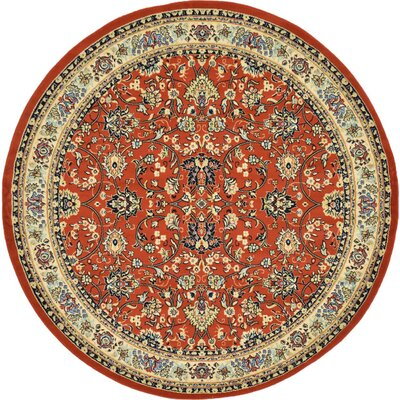 Essehoul Terracotta Area Rug Rug Size: Round 8