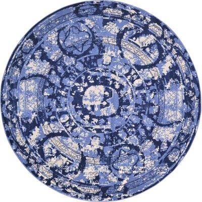 Kelaa Blue Area Rug Rug Size: Round 8
