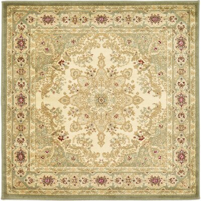 Anzac Cream Area Rug Rug Size: Square 4'