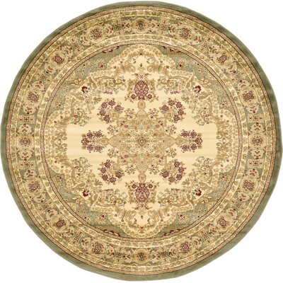Anzac Cream Area Rug Rug Size: Round 6