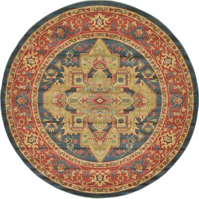 Valley Blue Area Rug Rug Size: Round 8