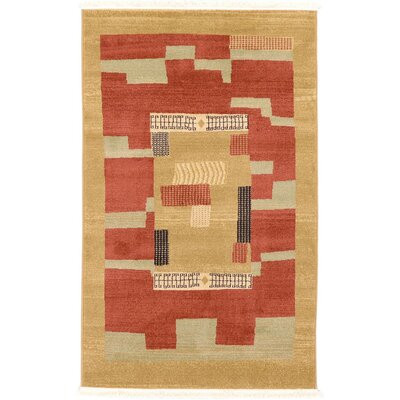 Jan Rust/Gold Area Rug Rug Size: Rectangle 3 x 5