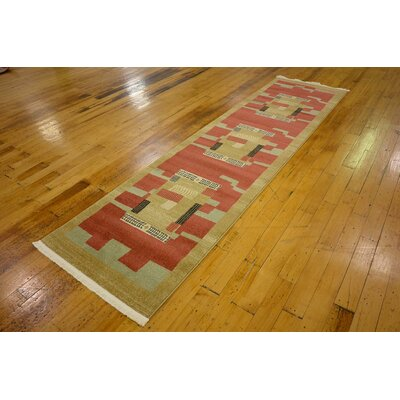 Jan Rust/Gold Area Rug Rug Size: 3 x 10