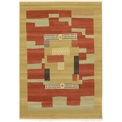 Jan Rust/Gold Area Rug Rug Size: 7 x 10