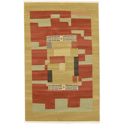 Jan Rust/Gold Area Rug Rug Size: 5 x 8