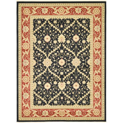 Britley Black Oriental Area Rug Rug Size: Rectangle 106 x 165