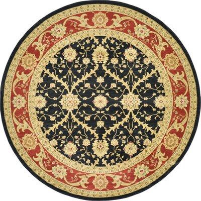 Jamar Black Oriental Area Rug Rug Size: Round 8