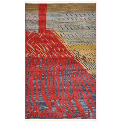 Foret Noire Red Area Rug Rug Size: 33 x 53