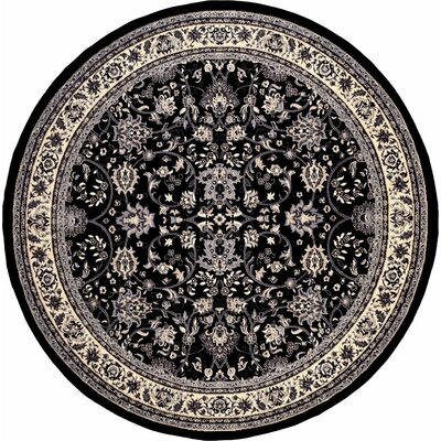 Essehoul Black Area Rug Rug Size: Round 8