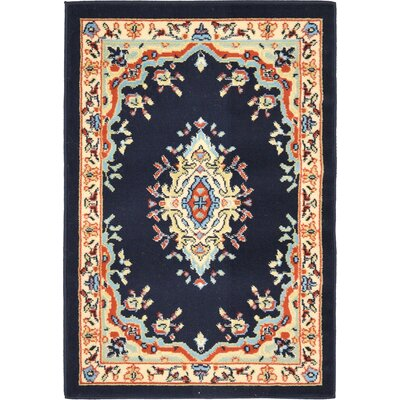Astral Navy Blue Area Rug Rug Size: Rectangle 9 x 12