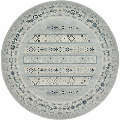Foret Noire Light Gray Area Rug Rug Size: Round 8