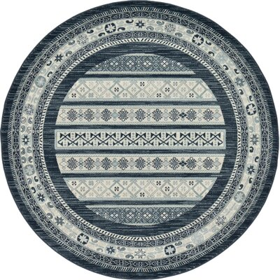 Foret Noire Gray Area Rug Rug Size: Round 8