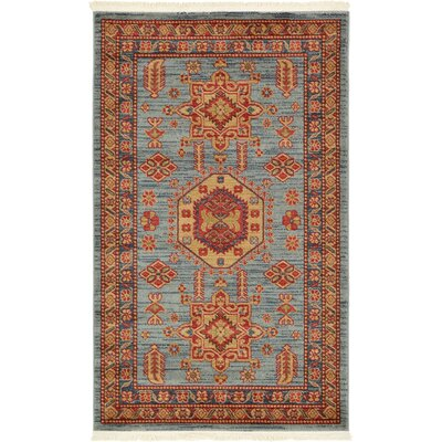 Valley Red / Light Blue Area Rug Rug Size: 9 x 12