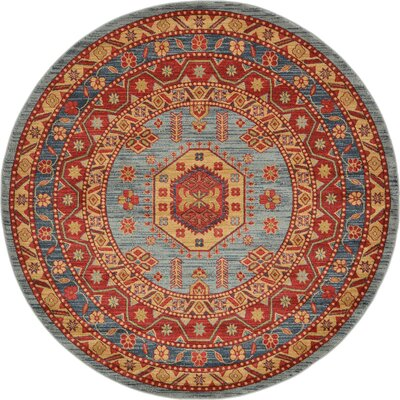 Valley Red / Light Blue Area Rug Rug Size: Round 6