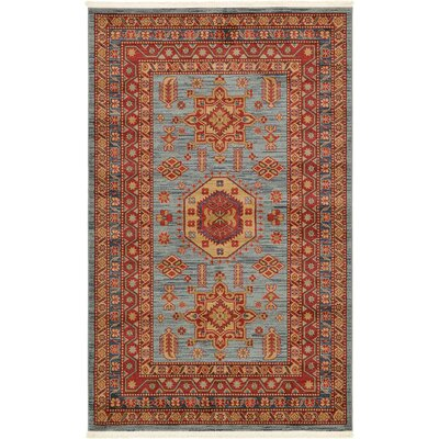 Valley Red / Light Blue Area Rug Rug Size: 5 x 8