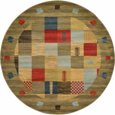 Jan Light Brown Geometric Area Rug Rug Size: Round 6