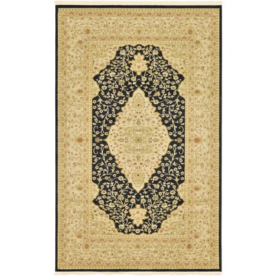 Jamar Traditional Black Area Rug Rug Size: 33 x 53