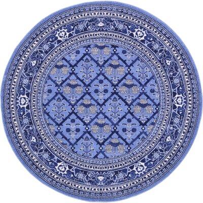 Katiranoma Blue Area Rug Rug Size: Round 8