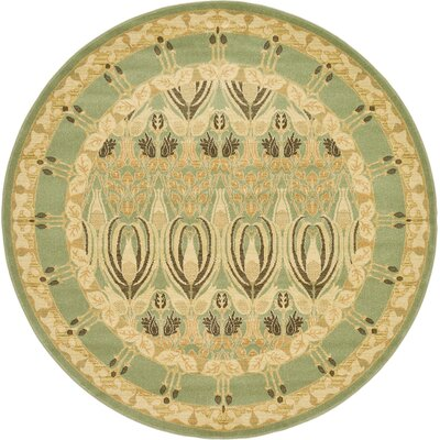Britley Light Green/Beige Area Rug Rug Size: Round 8