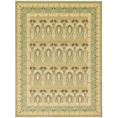 Britley Light Green/Beige Area Rug Rug Size: Rectangle 8 x 112