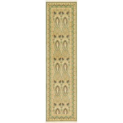 Willow Light Green/Beige Area Rug Rug Size: Runner 27 x 10