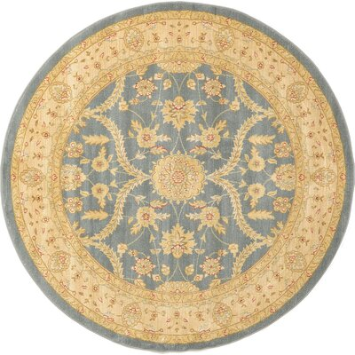 Willow Blue/Beige Area Rug Rug Size: Round 6