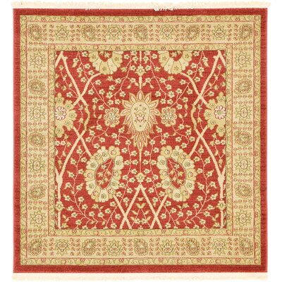 Willow Red Area Rug Rug Size: Square 4
