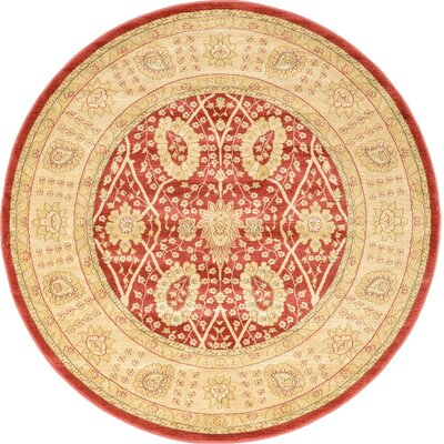Willow Red Area Rug Rug Size: Round 6