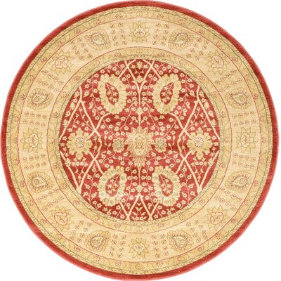 Willow Red Area Rug Rug Size: Round 8