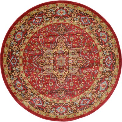 Zoey Red Area Rug Rug Size: Round 8