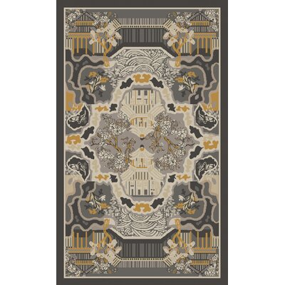 Alois Charcoal/Gold Area Rug Rug Size: Rectangle 2 x 3