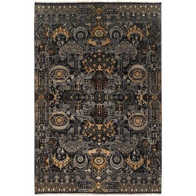 Felice Hand-Knotted Medium Gray Area Rug Rug size: Rectangle 56 x 86